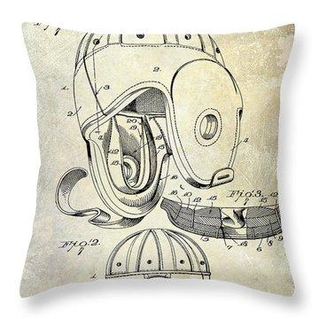 Football Helmet Patent Throw Pillow by Jon Neidert