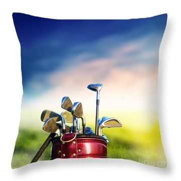 Football Soccer Ball On Green Grass Throw Pillow by Michal Bednarek