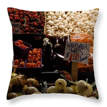 Fruits And Vegetables At A Market Throw Pillow by Panoramic Images