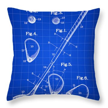 Golf Club Patent 1909 - Blue Throw Pillow by Stephen Younts