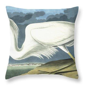 Great White Heron Throw Pillow by John James Audubon