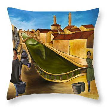 Green Canals  Throw Pillow by William Cain