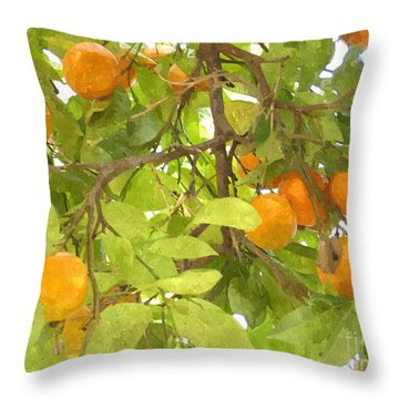 Green Leaves And Mature Oranges On The Tree Throw Pillow by Lanjee Chee