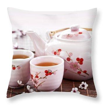 Green Tea Set Throw Pillow by Elena Elisseeva