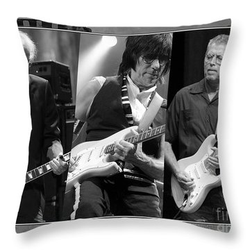 Guitar Legends Jimmy Page Jeff Beck And Eric Clapton Throw Pillow by Marvin Blaine