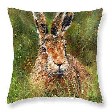 hARE Throw Pillow by David Stribbling