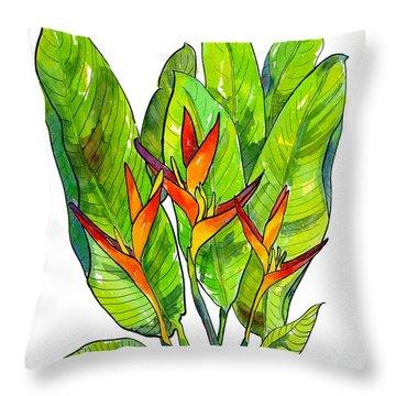 Heleconia Throw Pillow by Diane Thornton