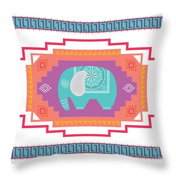Indian Elephant Throw Pillow by Susan Claire