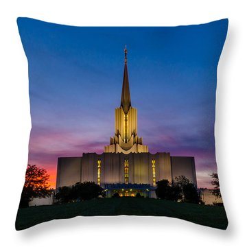 Jordan River Temple Sunset Throw Pillow by La Rae  Roberts