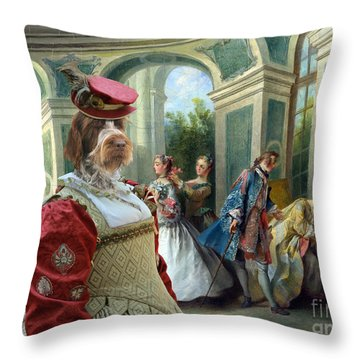Korthals Pointing Griffon Art Canvas Print  Throw Pillow by Sandra Sij