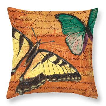 Le Papillon 3 Throw Pillow by Debbie DeWitt