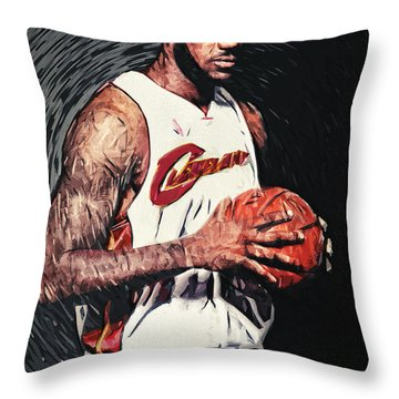 Lebron James Throw Pillow by Taylan Apukovska