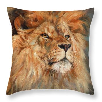 Lion Throw Pillow by David Stribbling