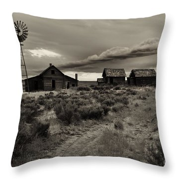 Lonely House On The Prairie Throw Pillow by Mike  Dawson