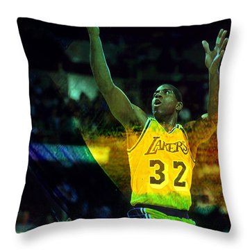 Magic Johnson Throw Pillow by Marvin Blaine