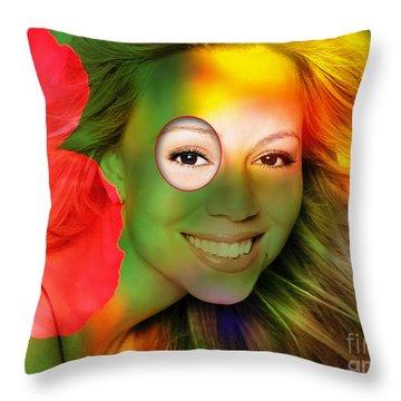 Mariah Carey Throw Pillow by Marvin Blaine