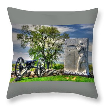 Massachusetts At Gettysburg - 1st Andrews Sharpshooters Unattached Mass. Vol. Infantry Hancock Ave Throw Pillow by Michael Mazaika