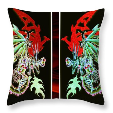 Mech Dragons Pastel Throw Pillow by Shawn Dall