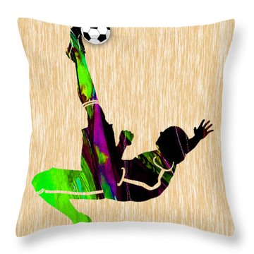 Mens Soccer Throw Pillow by Marvin Blaine