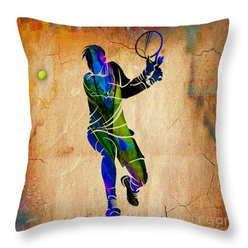 Mens Tennis Throw Pillow by Marvin Blaine