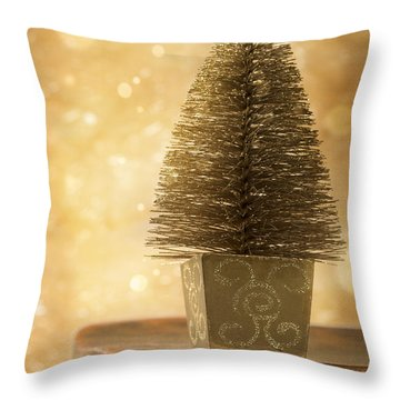 Miniature Christmas Tree Throw Pillow by Amanda Elwell