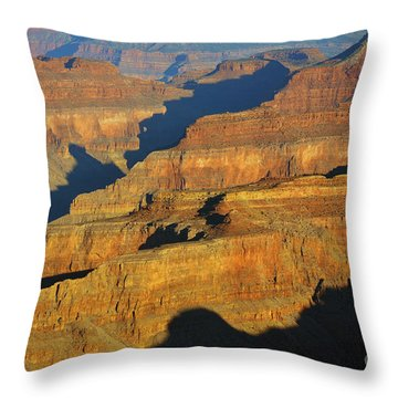 Morning Color And Shadow Play In Grand Canyon National Park Throw Pillow by Shawn O'Brien
