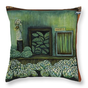 Mural On A Wall, Cancun, Yucatan, Mexico Throw Pillow by Panoramic Images