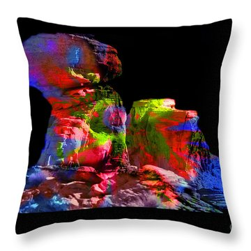 Mushroom Rock Throw Pillow by Gunter Nezhoda