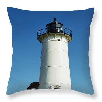 Nobska Lighthouse Throw Pillow by John Greim