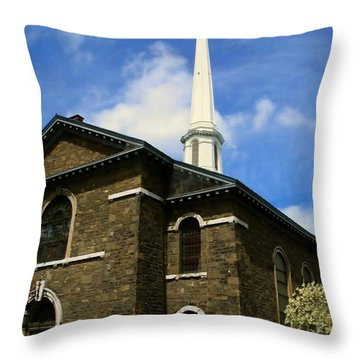 Old Dutch Church Throw Pillow by Donna Cavanaugh