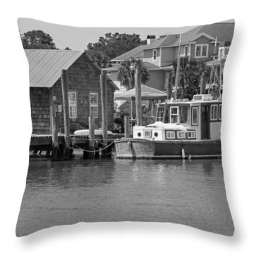 On Shem Creek Throw Pillow by Suzanne Gaff