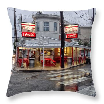 Pat's Steaks Throw Pillow by Jack Paolini