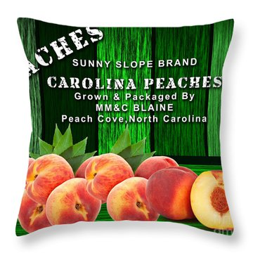 Peach Farm Throw Pillow by Marvin Blaine
