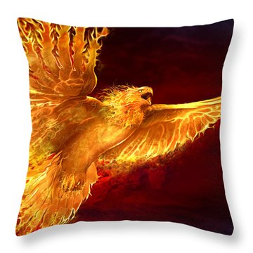 Phoenix Rising Throw Pillow by Tom Wood