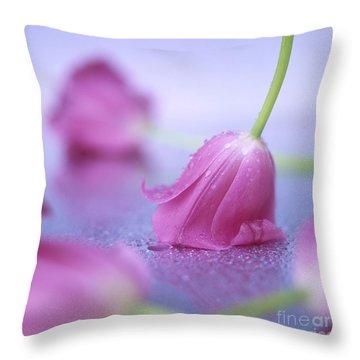 Pink Tulips Throw Pillow by Bernard Jaubert