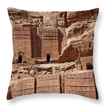 Rock Cut Tombs On The Street Of Facades Petra Jordan Throw Pillow by Robert Preston