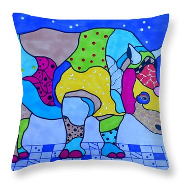 Rolo The Rhino Throw Pillow by Raela K