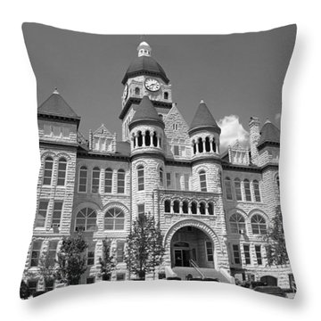 Route 66 - Jasper County Courthouse Throw Pillow by Frank Romeo