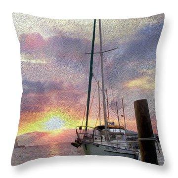 Sailboat Throw Pillow by Jon Neidert