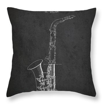Saxophone Patent Drawing From 1937 - Dark Throw Pillow by Aged Pixel