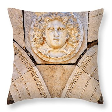 Sculpted Medusa Head At The Forum Of Severus At Leptis Magna In Libya Throw Pillow by Robert Preston
