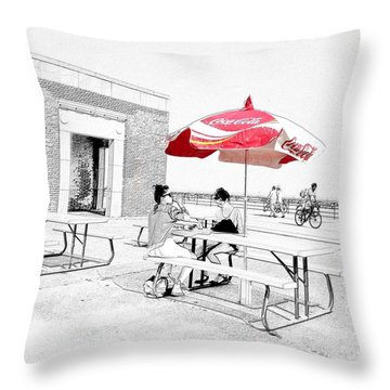 Seaside Sketch Throw Pillow by Natasha Marco