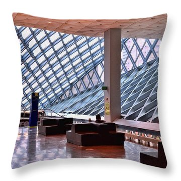 Seattle Library Reading Room 2 Throw Pillow by Allen Beatty