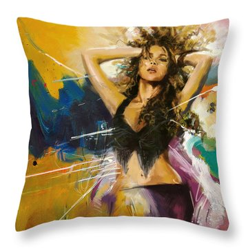 Shakira Throw Pillow by Corporate Art Task Force