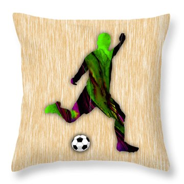 Soccer Player Throw Pillow by Marvin Blaine