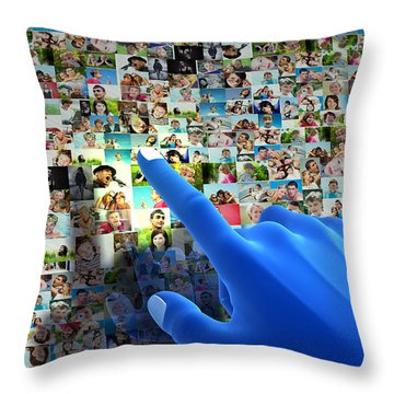 Social Media Network Throw Pillow by Michal Bednarek