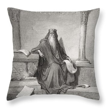 Solomon Throw Pillow by Gustave Dore