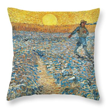 Sower Throw Pillow by Vincent van Gogh