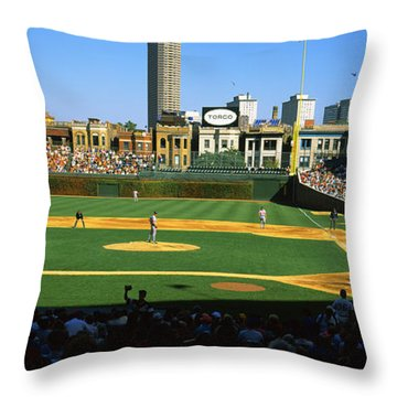 Spectators In A Stadium, Wrigley Field Throw Pillow by Panoramic Images