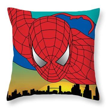 Spiderman  Throw Pillow by Mark Ashkenazi